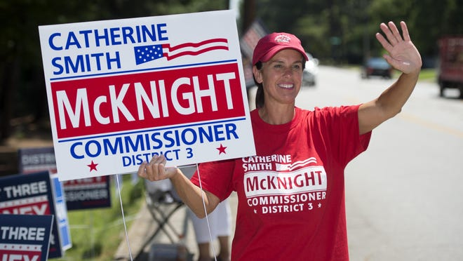 District 3 Augusta Commission candidate Catherine Smith McKnight campaigns near Covenant Presbyterian Church  in Augusta, Ga., Tuesday afternoon, August 11, 2020.