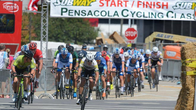 Racers make their way along the course during last year's Subway Pensacola Cycling Classic. This year's event is Saturday and Sunday at venues in Pensacola Beach, Milton and downtown Pensacola.