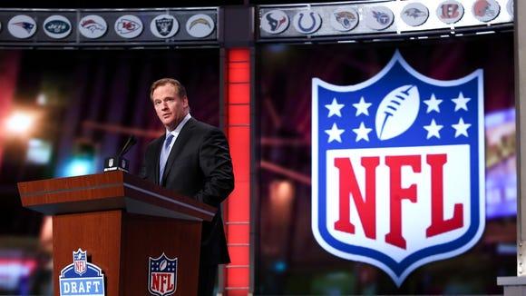 Roger Goodell at the NFL Draft last April.