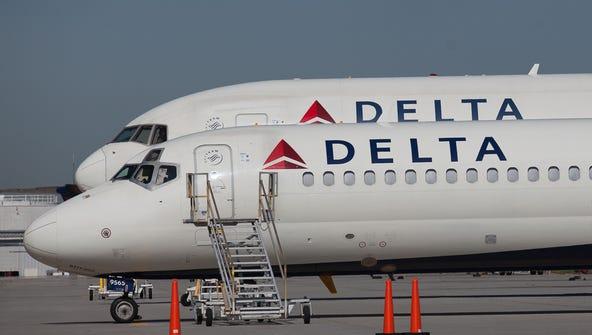 Delta Air Lines jets at the company's Atlanta hub on