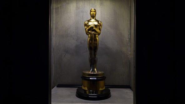 A photo taken on April 6, 2016 shows an Oscar trophy