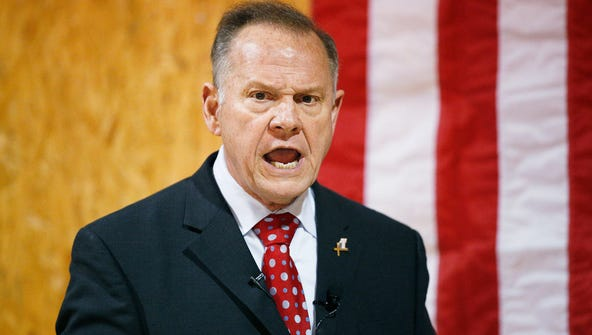 Roy Moore speaks at a campaign rally, Nov. 30., 2017,
