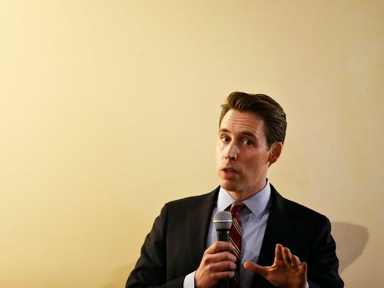 Josh Hawley speaks during a debate in Springfield last