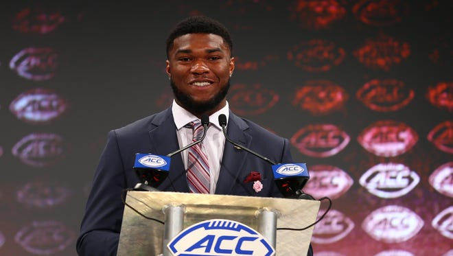Florida State Seminoles running back Cam Akers speaks with the media during ACC football media day at The Westin.