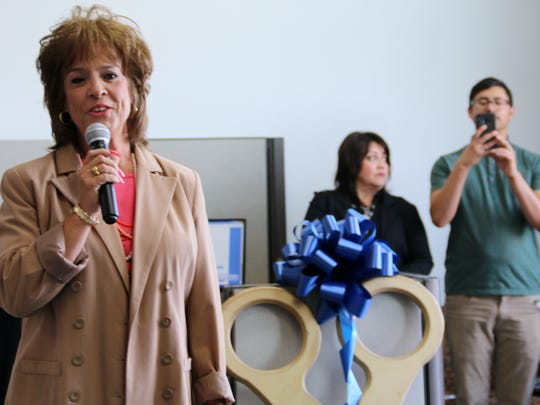 Melinda Jordan, CEO of Goodwill Industries of El Paso, talked at the April 14, 2017 grand opening of the Job Link employment office in Horizon City.