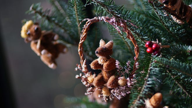 Brandywine River Museum of Art's Brandywine Christmas display is filled with Critter ornaments, made from local natural vegetation, with themed trees throughout the museum.