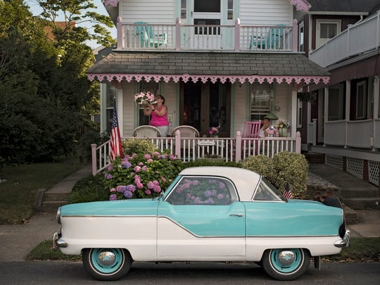 A Nash Metropolitan parked on the street in Ocean Grove (Michael Karas/@michaelkarasphoto).