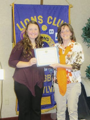 Hope Tosten was named January's student of the month by the Gettysburg Lions Club.