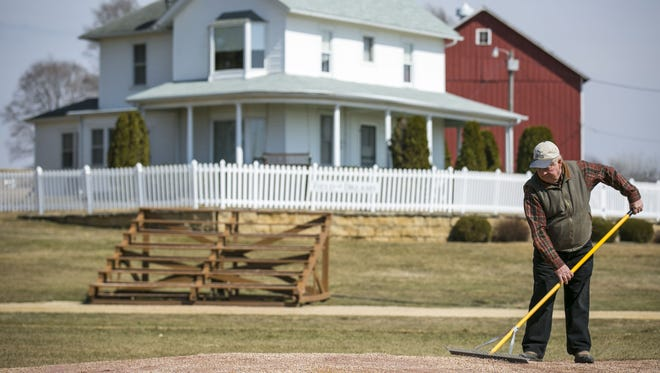 Don Lansing, former owner of the house and farm where the Field of Dreams film site is located, still prepares the diamond and mows the grass for visitors March 31, 2014, near Dyersville, Iowa.