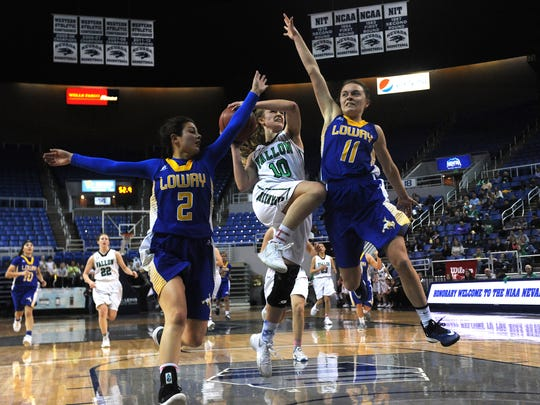 Fallon's Kaitlyn Hunter (10) drives to the basket while taking on Lowry during their 3A NIAA girls basketball championship game at Lawlor Events Center in Reno on Feb. 24, 2018.
