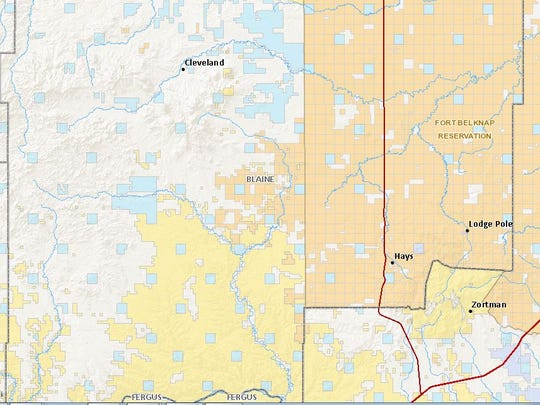 The current hunting regulatory dispute is centered upon tribally owned and/or administrated lands just outside the southwest exterior boundary of the Fort Peck Indian Reservation. Seen here at the center of this map, the roughly 20,000-acres surround the word BLAINE.