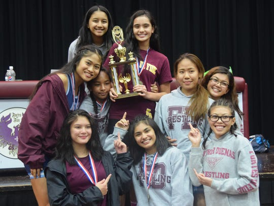 The Father Duenas-Academy girls' team took the second place finish with 115 points in the 2017 IIAAG Girls Wrestling All-Island meet on Friday, Dec. 15 at the Father Duenas Phoenix Center.