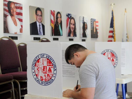 Sergio Camacho votes for the first time on Election Day at a Boys & Girls Clubs of Oxnard and Port Hueneme location.