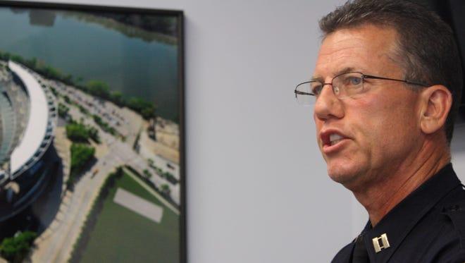 Cincinnati police Capt. Mike Neville speaks on safety in Cincinnati Sunday.