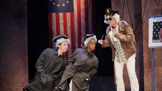 """Miranda McGee, Geoffrey Barnes and Justin McCombs in """"The Complete History of America (abridged)"""" playing through Aug. 15."""