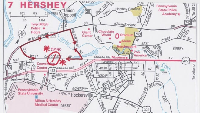 Map shows the work area on Old W.  Chocolate Ave. in Derry Township