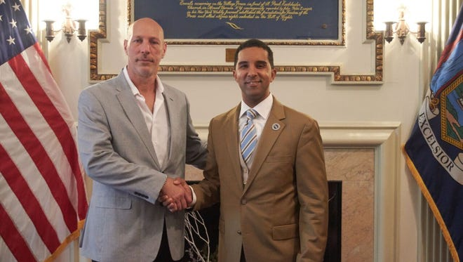 Joseph Nigro, left, was appointed public works commissioner by Mayor Richard Thomas.