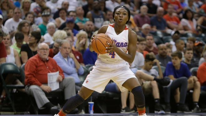 Gary WestÕs Dana Evans (4) at the Indiana vs. Kentucky High School All-Star game at Bankers Life Fieldhouse in Indianapolis on Saturday, June 10, 2017.