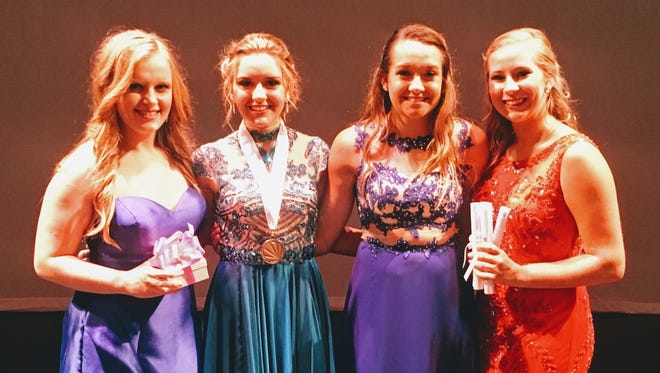From left are Distinguished Young Women finalists Sheridan Forker, third runner up; Bailey Holmes, Henderson's Distinguished Young Woman for 2018; Cameron Carter, first runner up; and Aleksey O'Dell, second runner up.