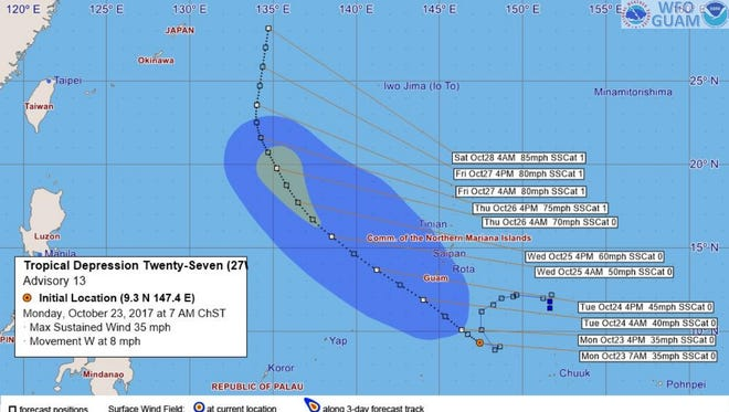 A graphic of a tropical depression that will pass by Guam in the coming days