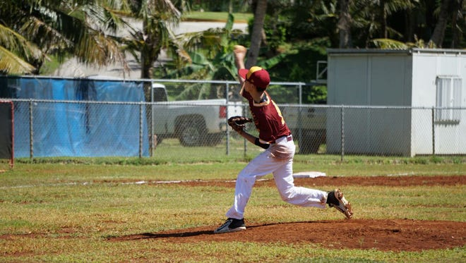 Father Duenas Friars pitcher Ethan Lobaton lets loose en route to a no-hitter in FD's 10-0 shutout of the John F. Kennedy Islanders on Friday at the FD Field.