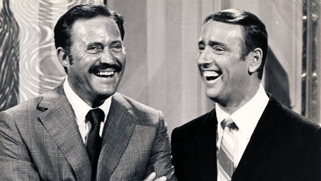 "Dan Rowan (left) and Dick Martin were the co-hosts of ""Rowan & Martin's Laugh-In,"" which debuted on NBC on this date in 1968."