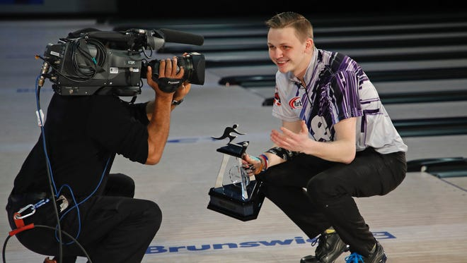 Holly native Andrew Anderson celebrates his first title on tour. He won the 2018 USBC Masters in Syracuse, N.Y.