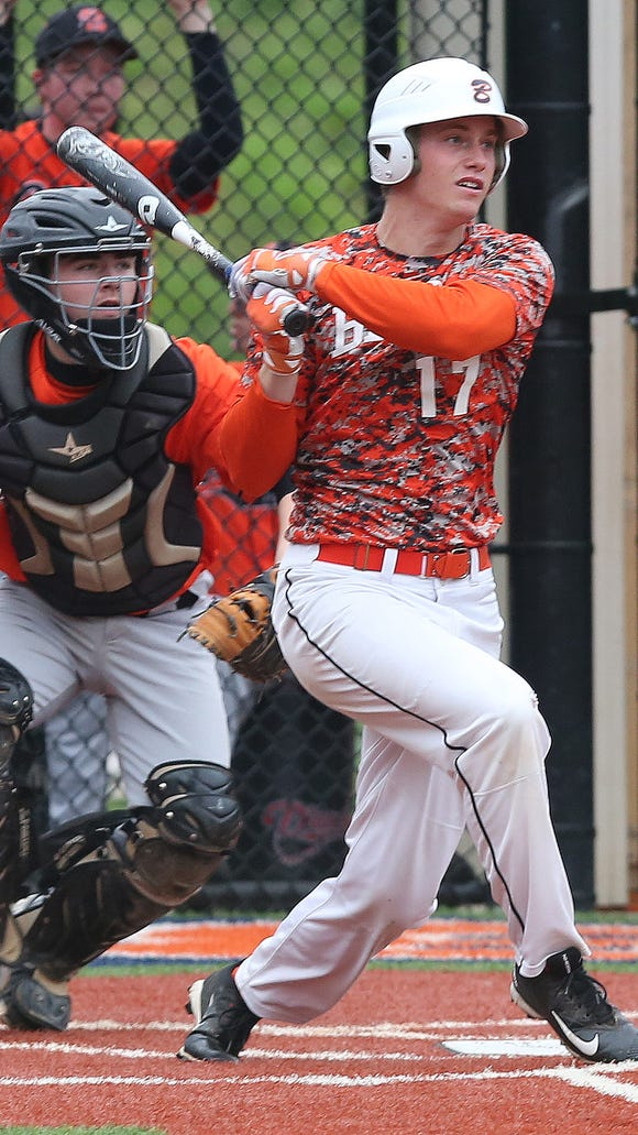 Briarcliff's Jake Hardy had five RBI against Croton in their game at Briarcliff High School Wednesday. The Bears won the game 10-1.