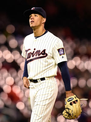 Jose Berrios (17) of the Minnesota Twins walks off the field after being relieved during the fifth inning of the game against the Cleveland Indians on April 27 at Target Field in Minneapolis.