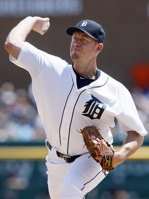 """Jordan Zimmermann (7-2) left a May 22 game with a groin strain. He hasn't started since but said he's """"on schedule"""" to take his next turn in the rotation."""