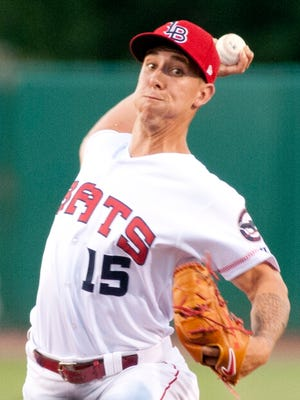Louisville Bats relief pitcher Michael Lorenzen comes in to the game at the top of the 7th inning.13 June, 2016