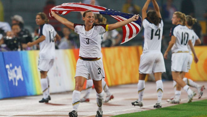 2008: Christie Rampone celebrates after winning the gold medal against Brazil during the Beijing Olympic Games.