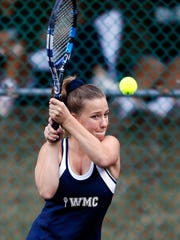 West Morris' Sofia Presuto hits a backhand during the Morris County Tournament girls tennis preliminary rounds at County College of Morris. September 23, 2017, Randolph, NJ