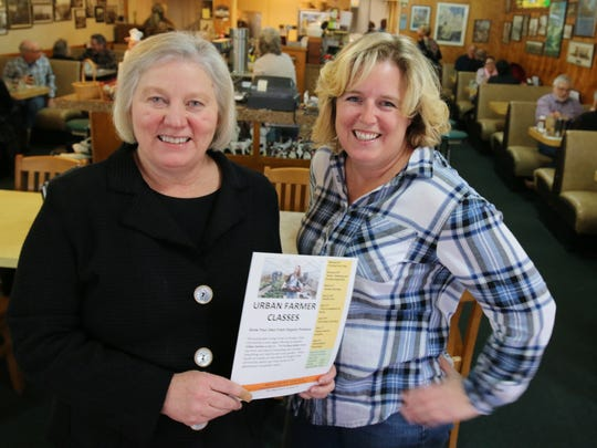 From left, Susan Wilson and Colleen Owen are hoping for a big turnout at their eight Urban Farmer classes on organic gardening set to start Feb. 6.