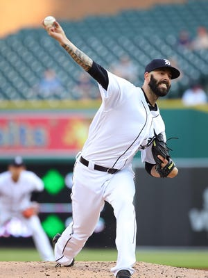 Detroit Tigers' Mike Fiers throws a second-inning pitch against the Cleveland Indians at Comerica Park on May 14, 2018.