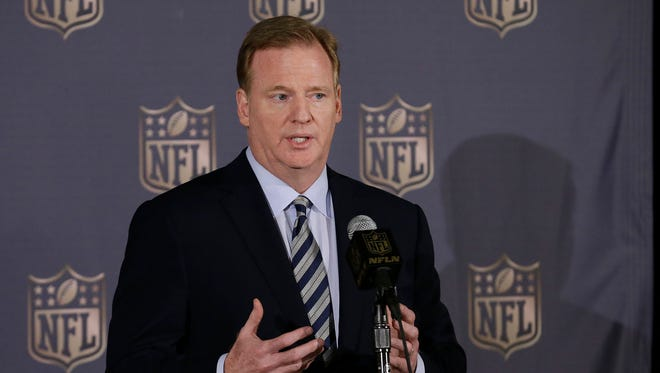 NFL Commissioner Roger Goodell speaks to reporters during the NFL's spring meetings in San Francisco, Wednesday, May 20, 2015.
