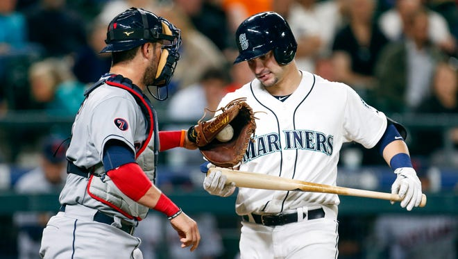 Mariners catcher Mike Zunino (right) strikes out to end a loss to Cleveland in 2015. Zunino has 404 strikeouts in 1,125 career at-bats.