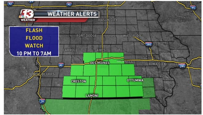 Flash Flood Watch from 10PM tonight to 7AM Sunday. Strong to severe storms tonight with heavy rain in southern IA.