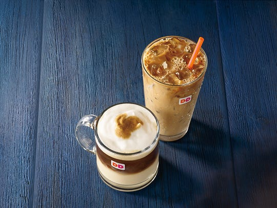 A Pumpkin Macchiato and Maple Pecan Iced Coffee at