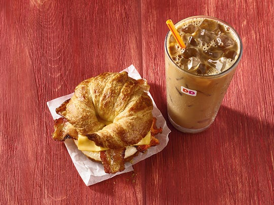 Dunkin' Donuts Maple Pecan Iced Coffee and Maple Sugar Bacon Breakfast Sandwich.