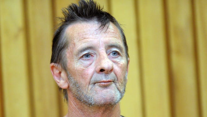 A file picture dated 26 November 2014 shows New Zealand-based Australian former AC/DC drummer Phil Rudd appearing in the High Court at the District Court in Tauranga, New Zealand.