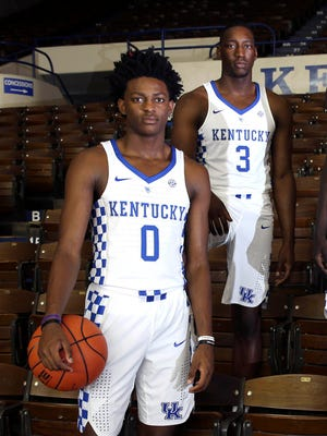 Kentucky guard De'Aaron Fox (0) and forward Bam Adebayo (3) will make for a solid one-two punch for the Wildcats.