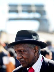 Rev. F.D. Reese arrives for President Barack Obama's appearance at the Edmund Pettus Bridge in downtown Selma, Ala. on Saturday March 7, 2015.