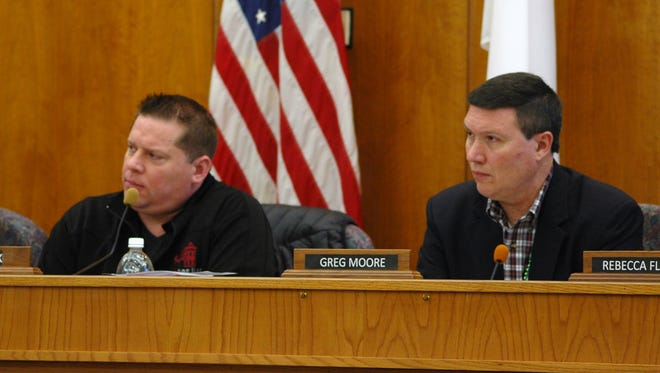 Nottawaseppi Huron Band of the Potawatomi Tribal Council Chairman Jamie Stuck, left, and FireKeepers Local Revenue Sharing Board Chairman Greg Moore listen to Emmett Township's request for public safety funding.