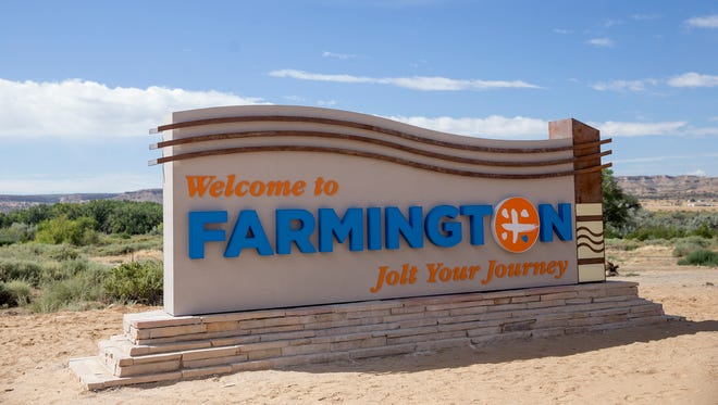 A new welcome sign as pictured on Thursday was installed Wednesday off of U.S. Highway 64 in Farmington.