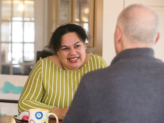 York County School of Technology equity coordinator Carla Christopher talks with Pastor Thomas W. Caruso, of Grace United Church of York, about potentially launching a spiritual support group Wednesday, Feb. 1, 2017, at I-ron-ic. Amanda J. Cain photo