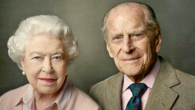 Queen Elizabeth II and Prince Philip Duke of Edinburgh pose to mark the Queen's 90th birthday, in photo by Annie Leibovitz released on June 10, 2016, which is also Philip's 95th birthday.