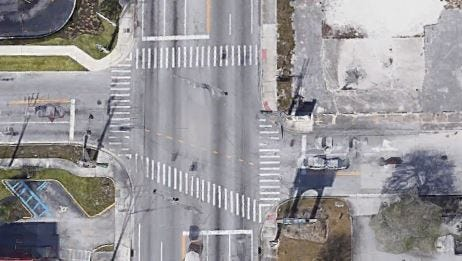 Aerial of showing the alignment of east and west bound land of Ohio Avenue at U.S. 1 in Fort Pierce. Starting in July, work will be performed to improve the alignment and make left turns easier.