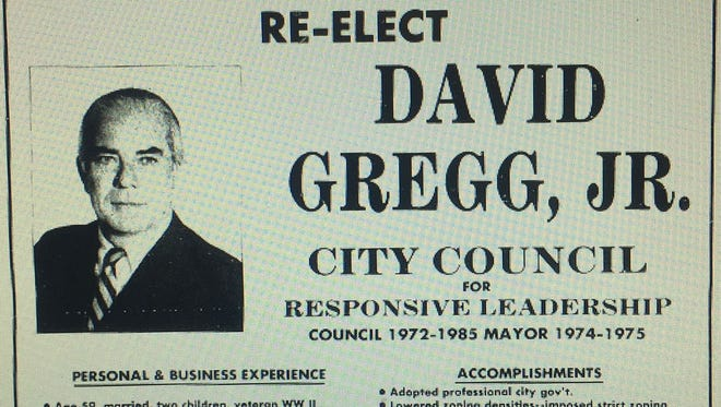This campaign advertisement for David Gregg was published in the March 6, 1985, edition of the Press Journal. Gregg, who had served six two-year terms, lost his seat on Vero Beach City Council by 23 votes to Hoyt Howard.