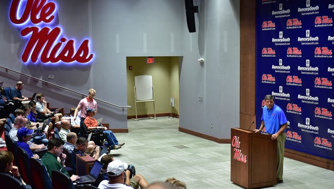 Ole Miss head football coach Matt Luke speaks at a press conference Wednesday afternoon during media day.
